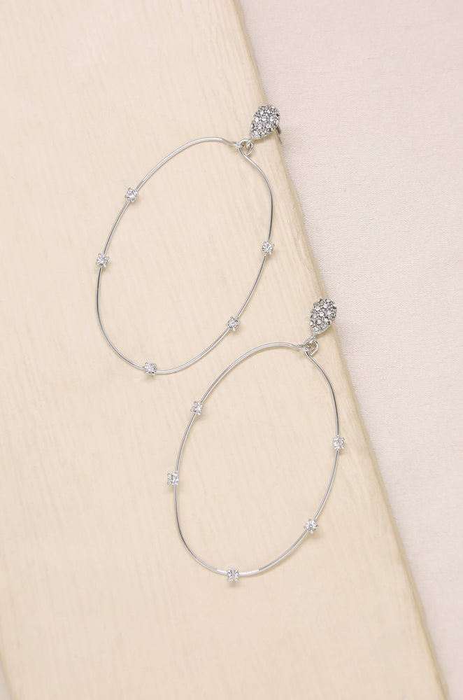 Delicate Crystal Large Oval Hoop Earrings