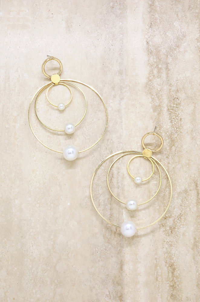 Statement Pearl & Multi Hoop 18k Gold Plated Earrings