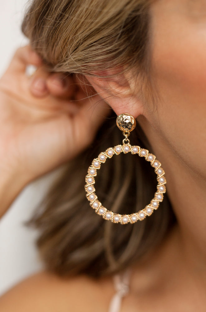 Cyclical Pearl Drop Hoop Earrings in Gold