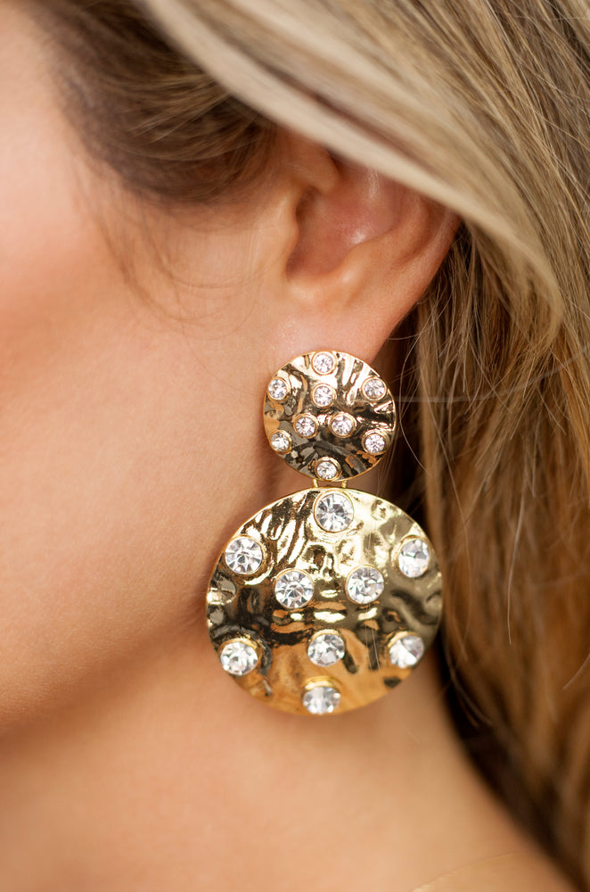 Double Crystal Studded Disc 18k Gold Plated Earrings
