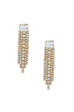 Formal Crystal Fringe Drop Earrings on white background