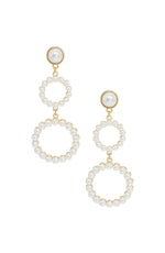Night Out Double Pearl Hoop 18k Gold Plated Drop Earrings