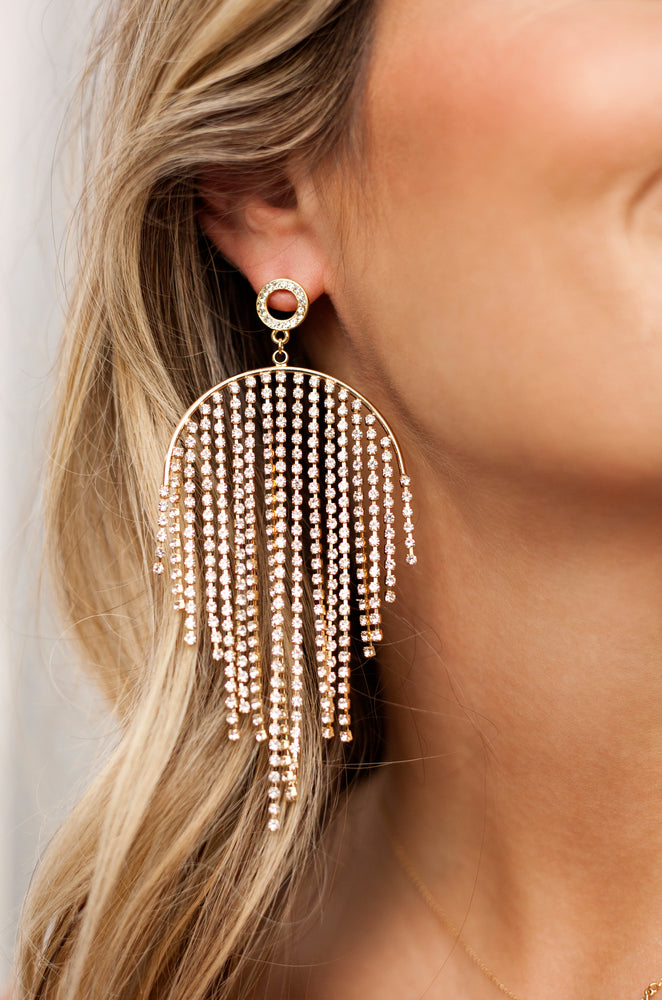 Crystal Elegance Fringe Earrings in Clear & Gold