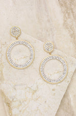 Crystal Pave 18k Gold Plated Drop Hoop Earrings