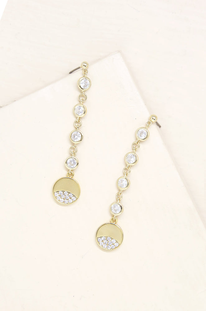 Dangle Dipped 18k Gold Plated & Crystal Earrings