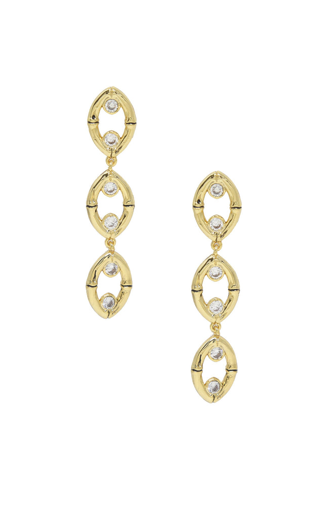Crystal & Gold Bamboo Eyelet Drop Earrings