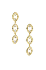 Crystal & 18k Gold Plated Bamboo Eyelet Drop Earrings