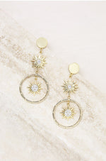 Eclipse Crystal Drop 18k Gold Plated Hoop Earrings