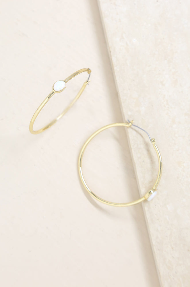 A Drop of Opal Hoop Earrings