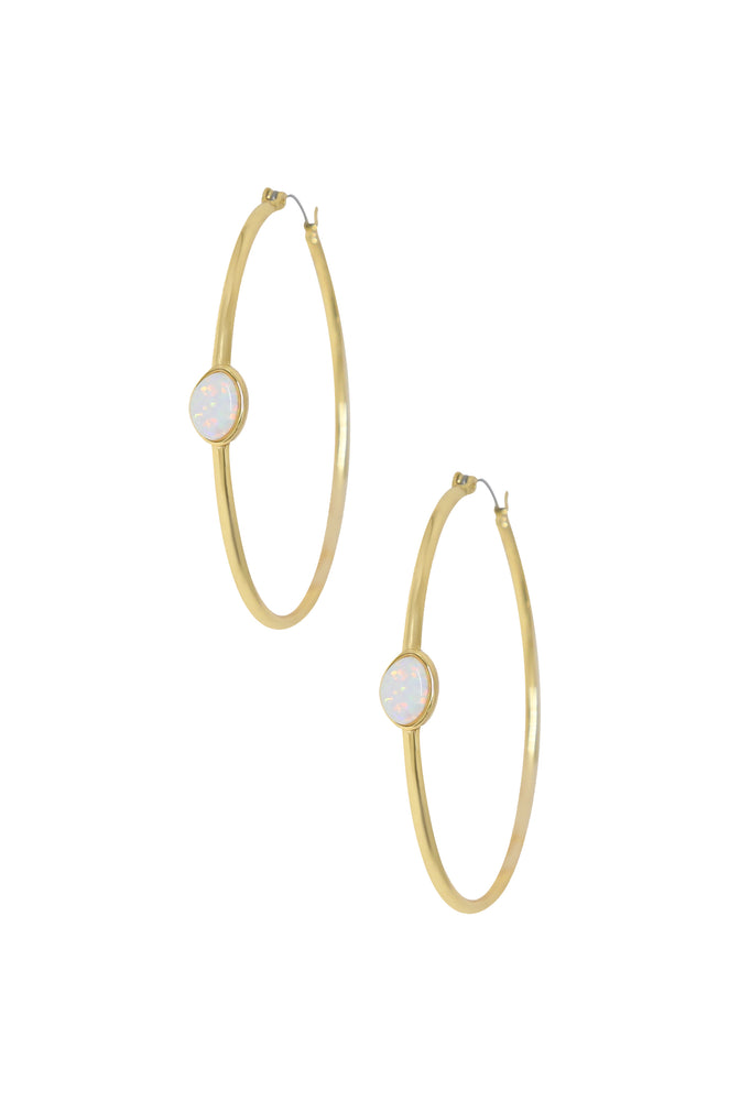 A Drop of Opal Hoop 18k Gold Plated Earrings