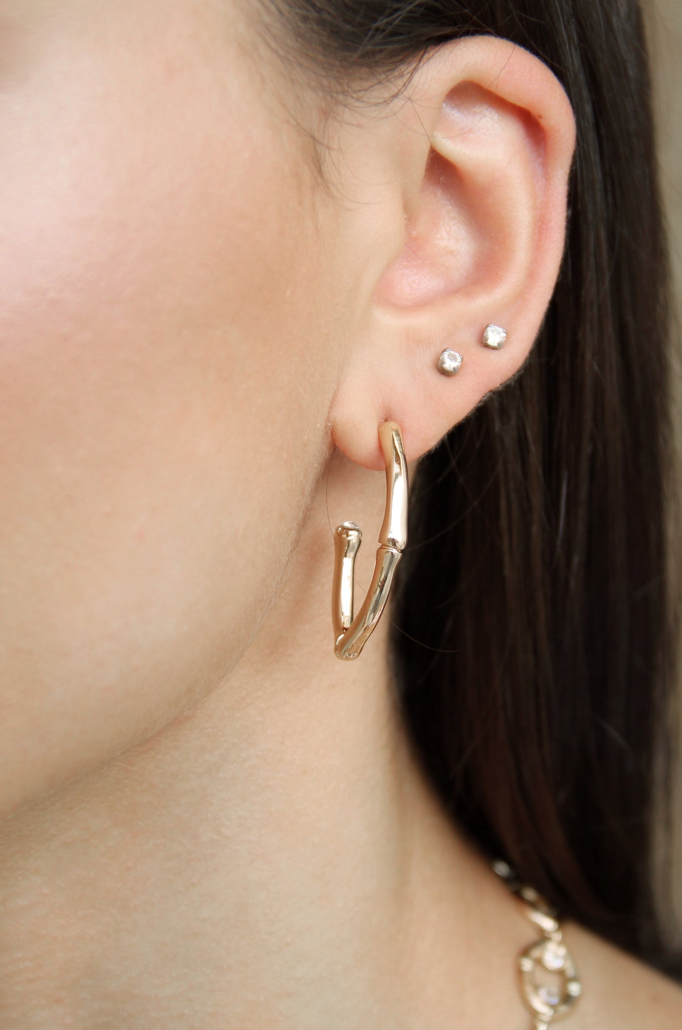 Altered State Gold Bamboo Hoop Earrings