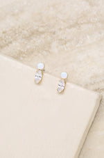 Catch their Eye Opal & Crystal Stud 18k Gold Plated Drop Earrings