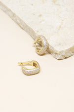 Little Reminders Crystal 18k Gold Plated Mini Hoop Earrings