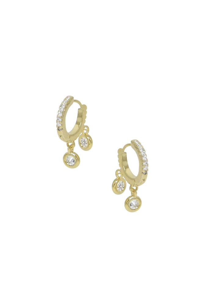 Double Crystal Charm Mini Hoop Earrings