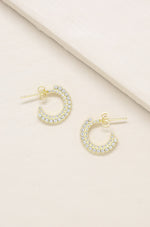 Forever Shine Crystal 18k Gold Plated Mini Hoop Earrings