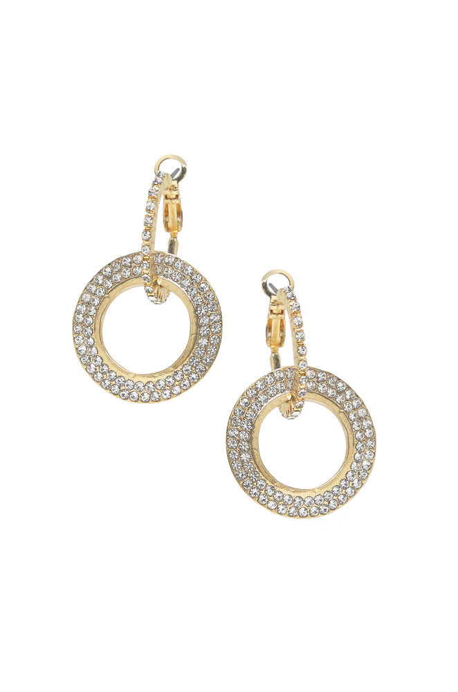 Double Drop Crystal 18k Gold Plated Hoop Earrings