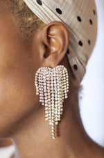 Gala Crystal Fringe 18k Gold Plated Earrings shown on a model