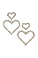 Double Trouble Heart Crystal 18k Gold Plated Earrings
