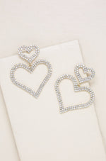Double Trouble Heart Crystal Earrings