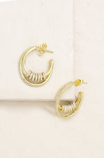 Double Crystal Pave Ring 18k Gold Plated Hoop Earrings
