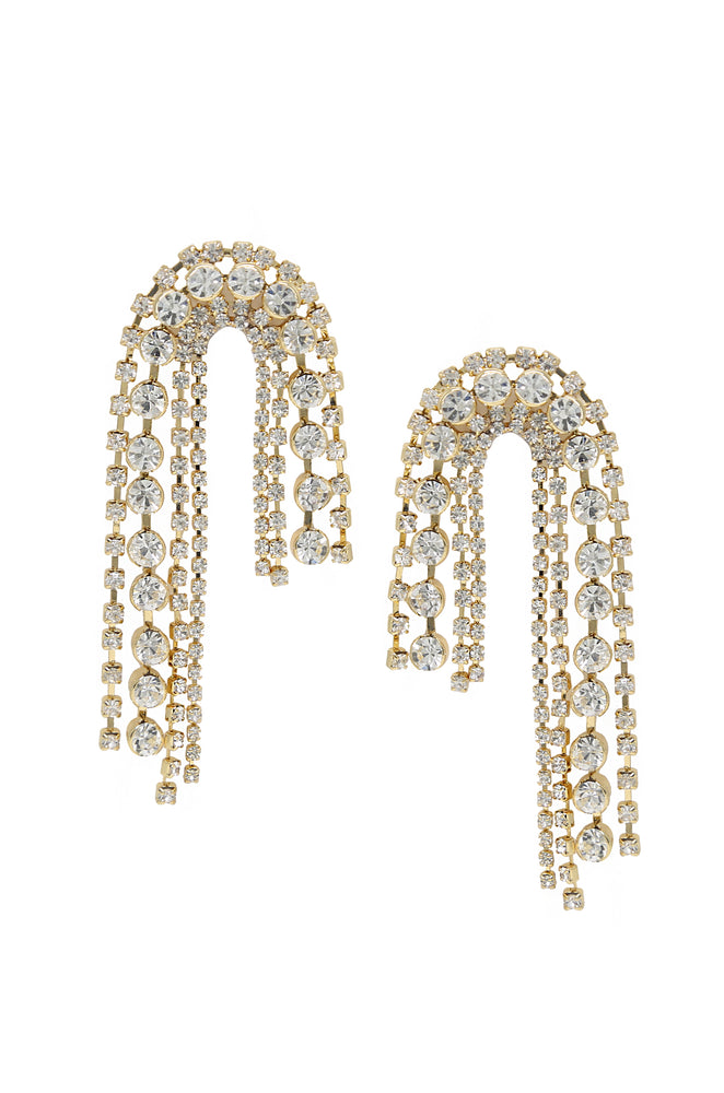 Crystal Arch Chain 18k Gold Plated Statement Earrings