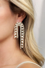 Crystal Arch Chain Statement Earrings