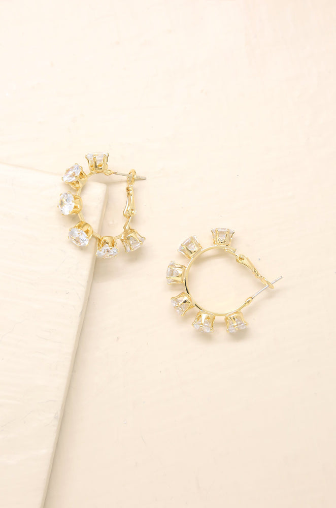 Crystal Cup 18k Gold Plated Hoop Earrings