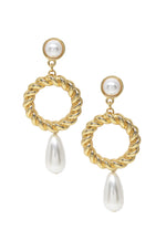 Twisted Drop Pearl 18k Gold Plated Earrings