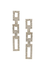 Crystal Rectangle Chain Link Earrings