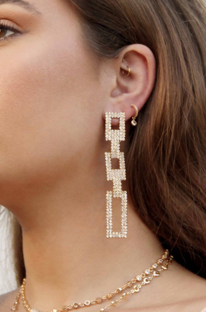 Crystal Rectangle Chain Link 18k Gold Plated Earrings