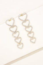 Quad Heart Crystal & Gold Drop Earrings