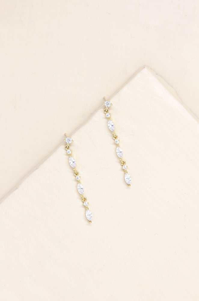 Dainty Linear Crystal Drop 18k Gold Plated Earrings