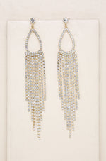 Long Teardrop Crystal Chandelier 18k Gold Plated Earrings