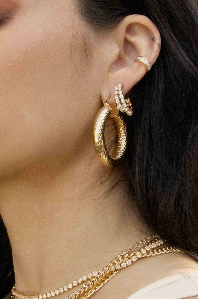 Rhinestone 18k Gold Plated Huggie Hoop Earrings