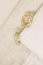 Crystal Chain Link 18k Gold Plated Hoops