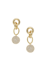 Dangle Crystal Disc 18k Gold Plated Earrings on white background