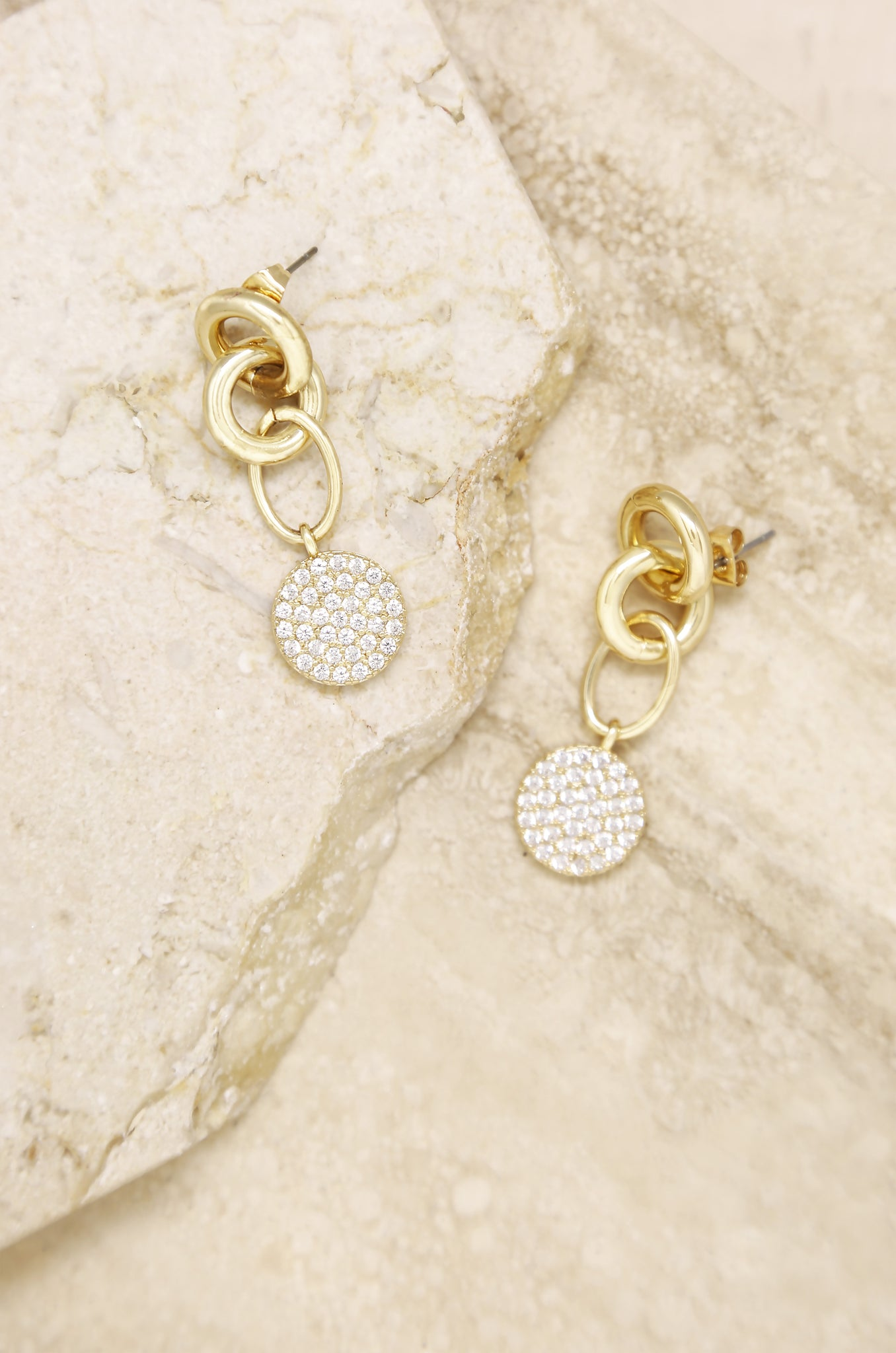 Dangle Crystal Disc 18k Gold Plated Earrings