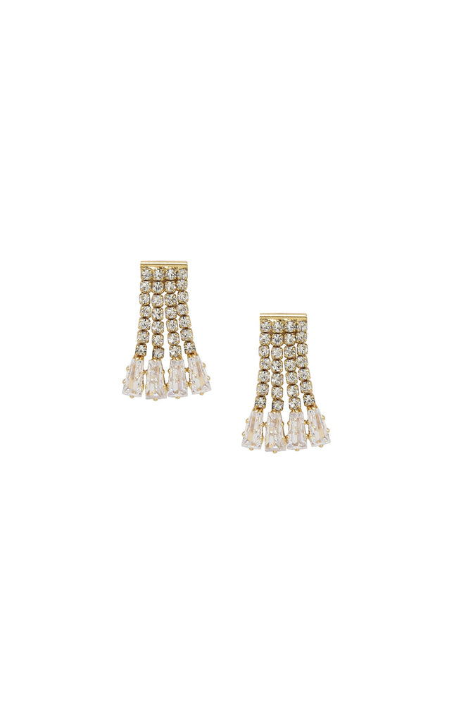 Crystal Fringe 18k Gold Plated Dangle Stud Earrings
