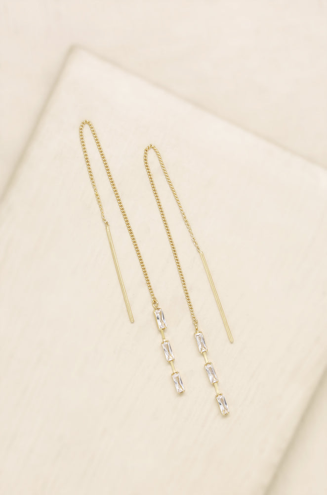 Crystal Baguette 18k Gold Plated Threader Earrings