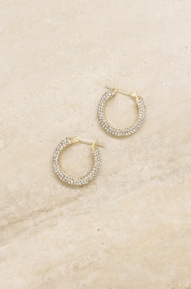 Sparkle Bits Mini Crystal 18k Gold Plated Hoops