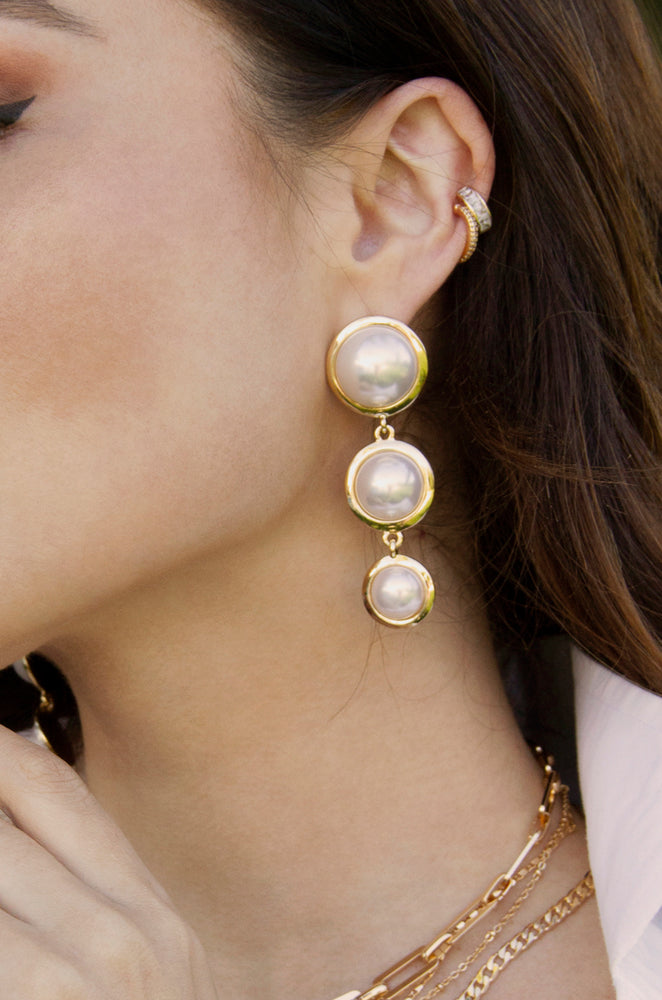 Triple Pearl Drop 18k Gold Plated Earrings