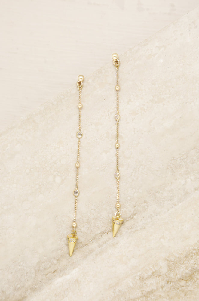 Gold Spike Drop Chain 18k Gold Plated Earrings