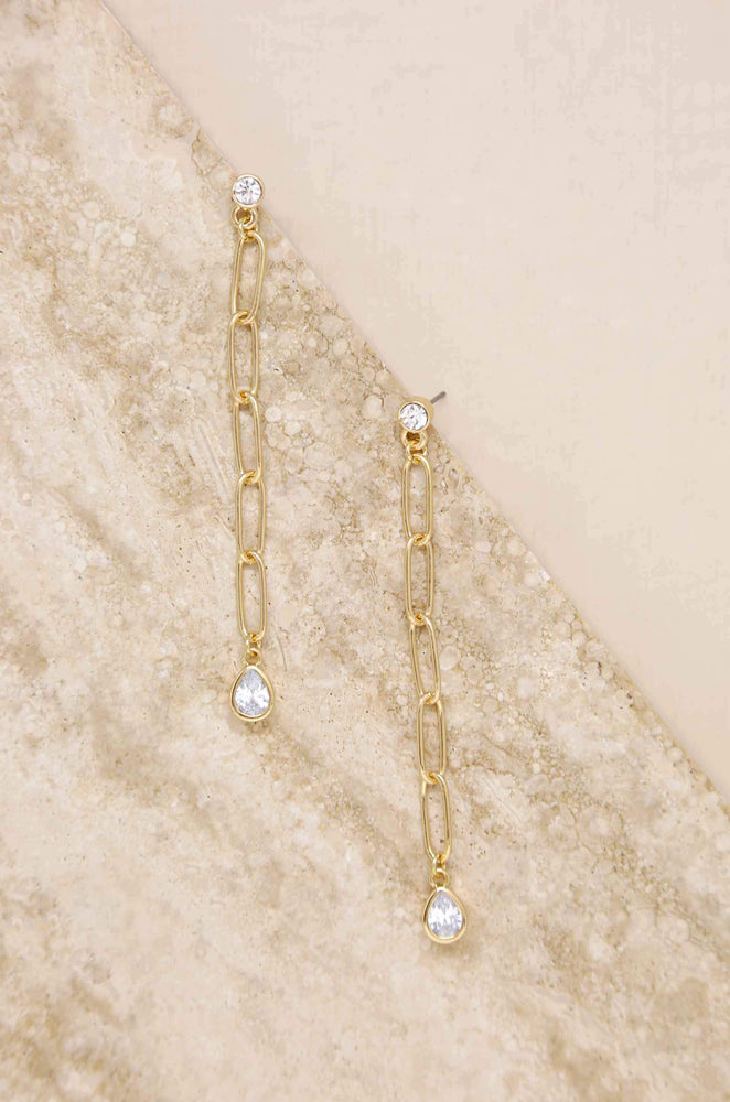 Chain Link Crystal 18k Gold Plated Dangle Earrings