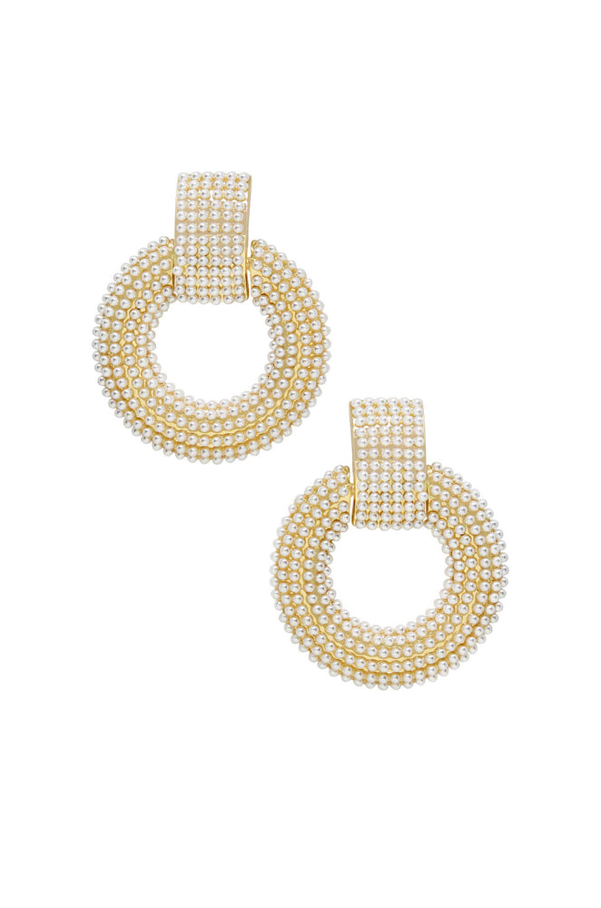 Pearl Statement 18k Gold Plated Earrings