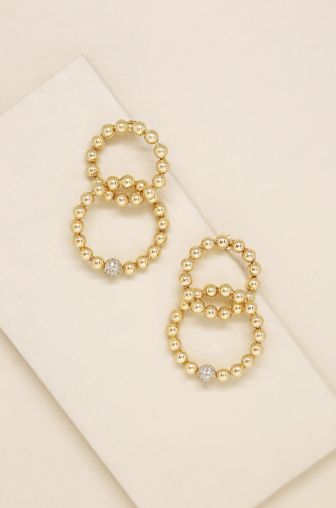 Interlocked 18k Gold Plated Ball Dangle Earrings
