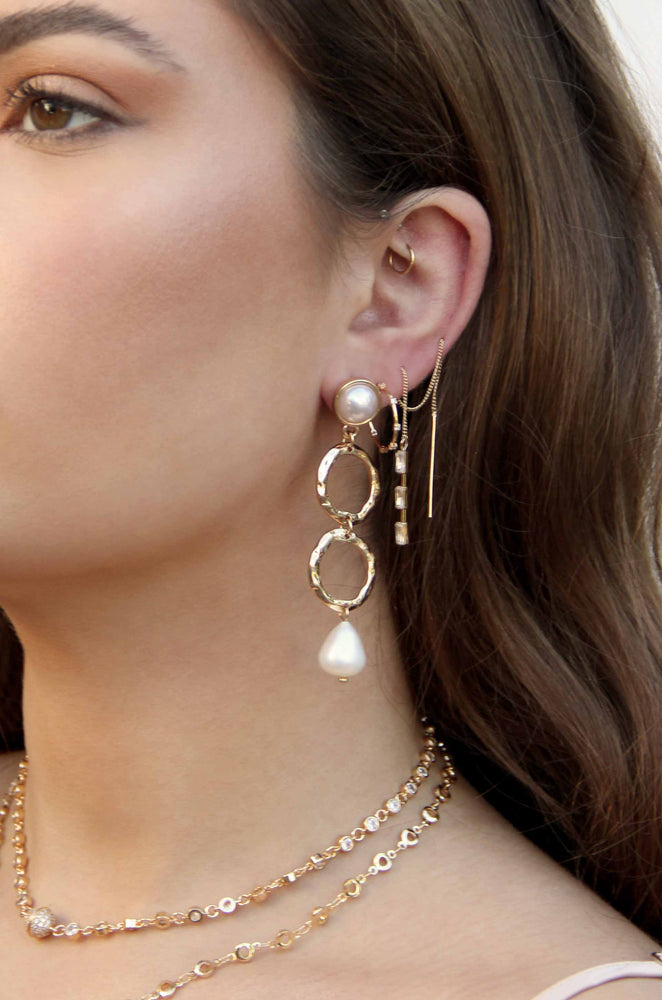 Textured Pearl Drop 18k Gold Plated Earrings