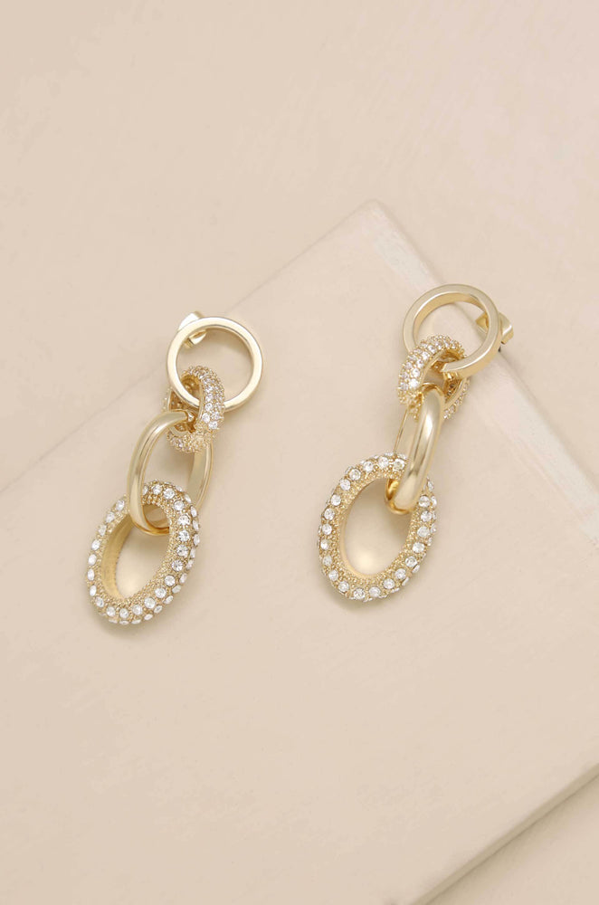 Little Links Crystal and 18k Gold Plated Earring