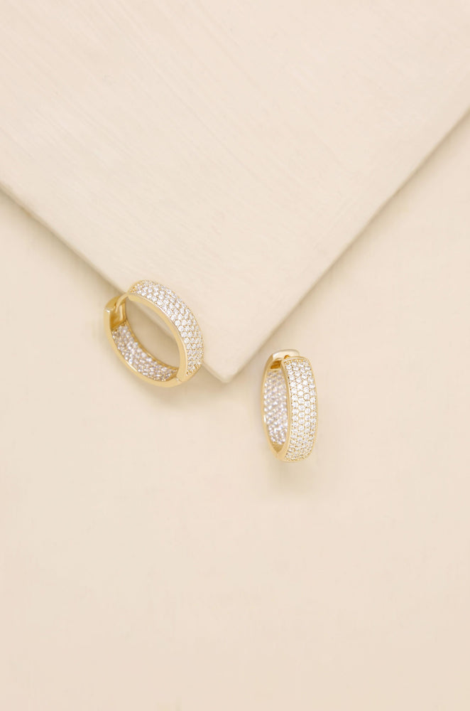 Crystal Sparkle Mini Hoop 18k Gold Plated Earrings
