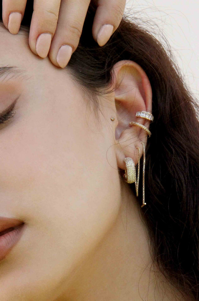 Single Chain Threader 18k Gold Plated Earrings shown on a model