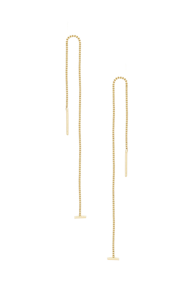 Single Chain Threader 18k Gold Plated Earrings